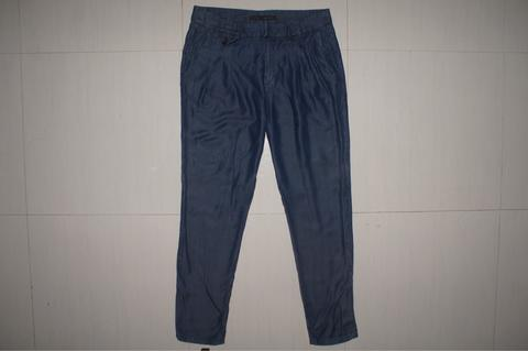 ZARA BASIC Blue Indigo Chambray Slim Fit Chino Long Pants