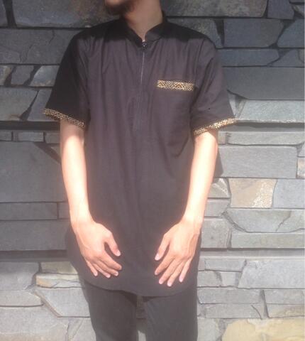 baju muslim koko gamis qurta pakistan pria modern hitam
