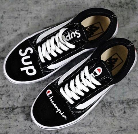 "Vans Old Skool X Champion X Supreme "" Black White """