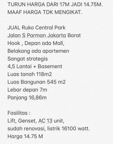 Jual Ruko Central Park 4 Lantai Jakarta Barat Murah