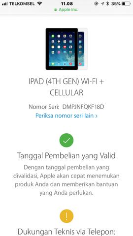 Dijual Ipad 4 Cell dan wifi 16GB White Lengkap Ori LTE