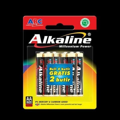 Baterai Alkaline AA/A2 Isi 6 Pcs