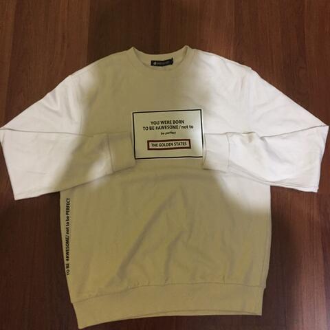 Hangten Sweatshirt Awesome Cream White Original not hnm uniqlo giordano zara