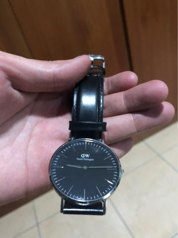 Daniel Wellington Black 40mm Silver Ring Leather Strap Original 100%