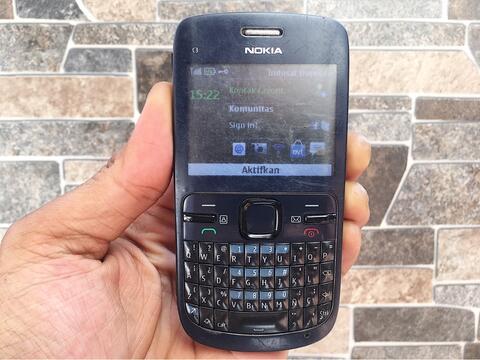 Nokia C3 Biru Normal Hp Jadul Klasik Kamera Handphone Nostalgia