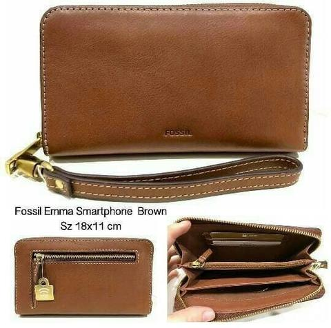 FOSSIL Emma RFID Smartphone Clutch Dompet Brown - Mulus