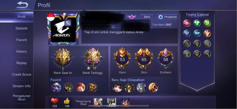 jual akun mobile legend sultan skin 65 khusus ios iphone ipad