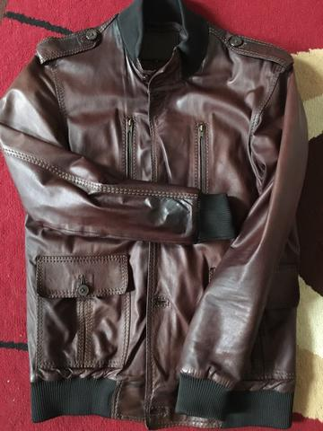 Ghazi Leather Jacket Dark Brown Model Pilot. not selvedge denim