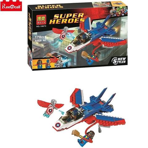 Bela 10673-Super Heroes-Captain America Jet Pursuit Super Adaptoid