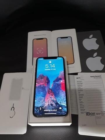 Iphone X 64gb Silver lengkap garansi resmi IBOX indonesia
