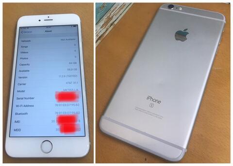 iPhone 6s plus 64gb silver su att us icloud off