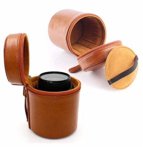 Leather Camera Lens Protector Carry Pouch Bag - Coffee 9cm x D 6.5cm