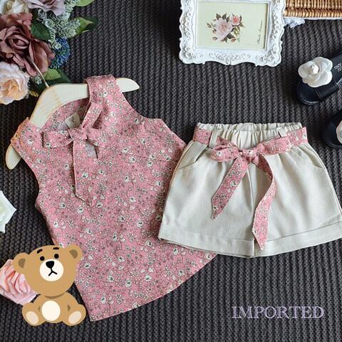 Baju Setelan Anak Perempuan Romper + Celana
