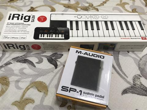 iRig 37 Keys for iPhone iPad Mac & PC + M-AUDIO SP-1 Sustain Pedal
