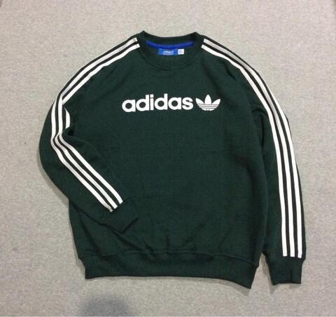 Crewneck Sweater Adidas Linear Green Army Size M dan L