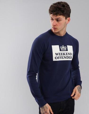 Crewneck Sweater Weekend Offender Navy Size M dan L