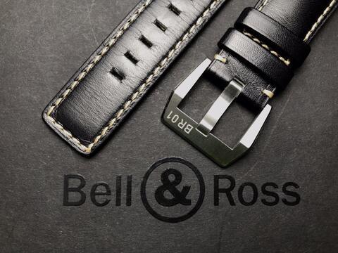 ORIGINAL LIKE NEW BELL & ROSS BLACK CALFSKIN STRAP 24MM