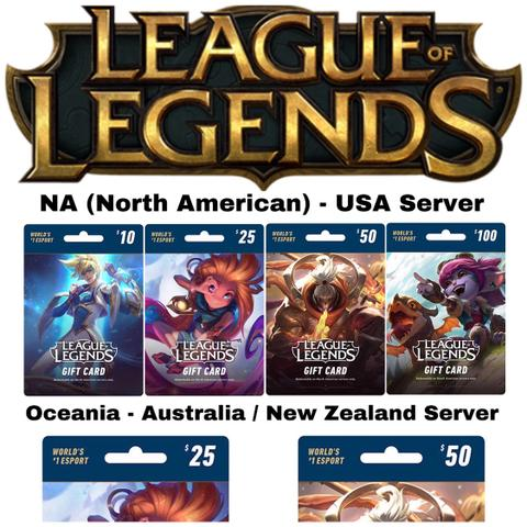 League of Legends $10 $25 $50 $100 Gift Card code - NA Server - ibanezblack.store