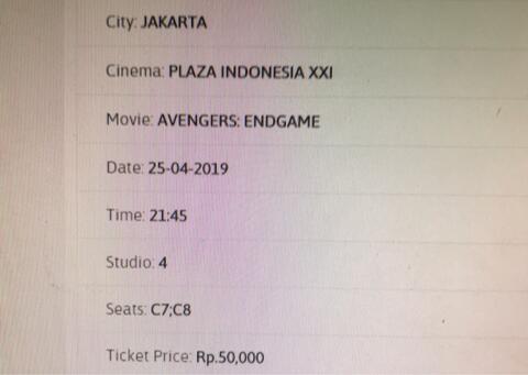 2 Tiket Avengers Endgame Plaza Indonesia