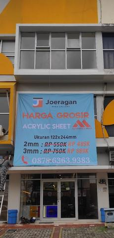 Toko acrylic lembaran Tangerang uk triplek 122x244 5mm Bening