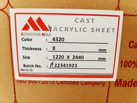 Toko acrylic lembaran Tangerang uk triplek 122x244 8mm Putih Susu
