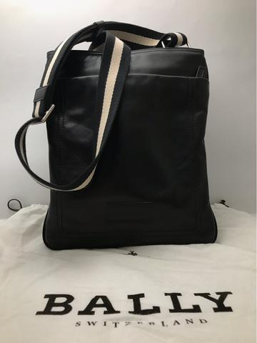 ORIGINAL LIKE NEW BALLY TERINO 280 BLACK PLAIN CALF LEATHER MEN'S SHOULDER BAG