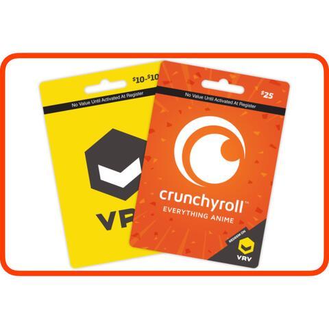 Crunchyroll US Gift Card on VRV $10 $25 $50