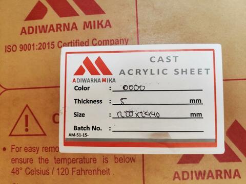 Akrilik mika type Bening 5mm 122x244 Tangerang Gading serpong