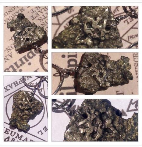 Kalung Batu Biji Emas Pyrt MAMMON Uang Kelimpahan Kekayaan