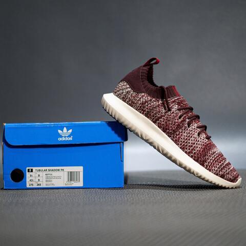 Sepatu Sneakers Adidas tubular shadow primeknit maroon original