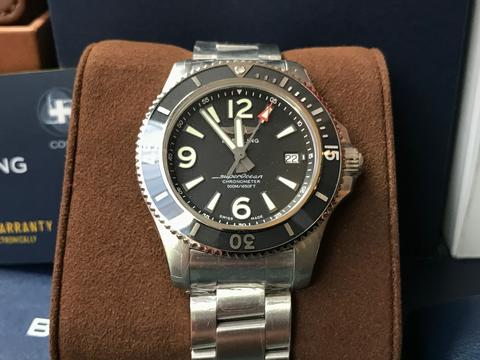 ORIGINAL BNIB BREITLING SUPEROCEAN II AUTOMATIC BLACK 42MM