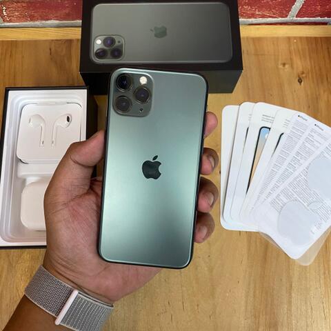 iPhone 11 Pro 256GB Midnight Green Dual Nano sim Aktif Super Mulus Fullset ZA/A