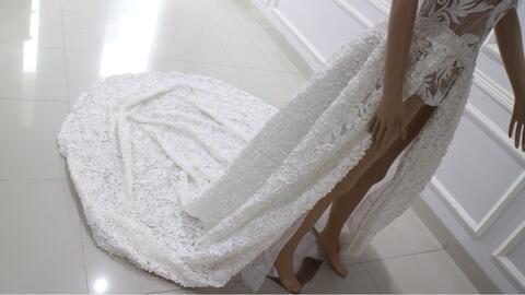 gaun pengantin wedding dress ekor