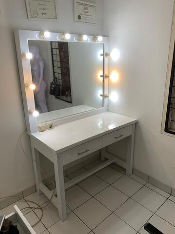 meja rias / makeup / vanity mirror MUA bahan kayu jati belanda