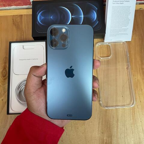 iPhone 12 Pro Max 128GB Pasific Blue Like new Garansi resmi iBox