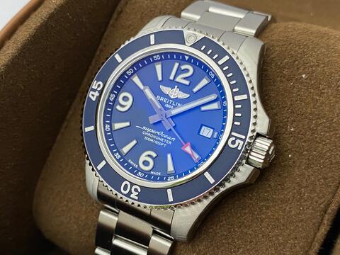 ORIGINAL LNIB BREITLING SUPEROCEAN II AUTOMATIC BLUE 42MM