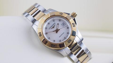 LONGINES HYDROCONQUEST QUARTZ MOTHER OF PEARL DIAMOND DIAL GOLD PLATED 31MM