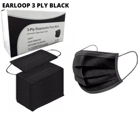 masker earloop hitam 50pcs
