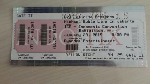 Sale! Michael Buble in JAKARTA. Yellow Ticket!