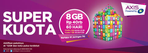 [PROMO] Inject / Isi Paket Internet AXIS SUPER KUOTA 8GB