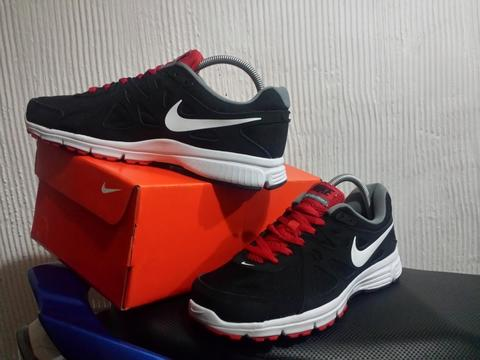 Sepatu Nike Revolution 2 Mens Black White Red Original