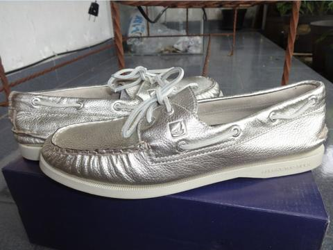 Sperry Top Sider Silver Leather