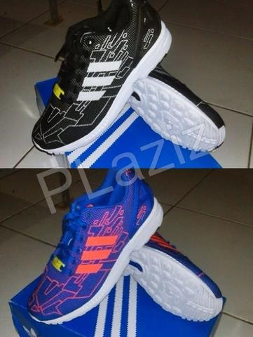 Adidas ZX Flux Weave Graphic black white & blue orange 100% ORIGINAL BNIB