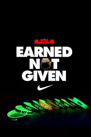"GELANG LEBRON JAMES ""EARNED NOT GIVEN"""