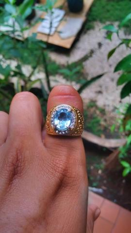 Natural blue topaz with ring titanium micro 15