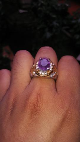 Natural amethyst/kecubung brazil with ring titanium micro 15