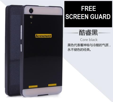 big sale f7661 c1df4 Matte Hard Case - Double Window Case - Aluminum Bumper for Lenovo A6000 4G