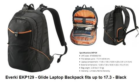 Tas Ransel / Laptop Everki GLIDE EKP129 17.3 inc - BLACK | ORIGINAL