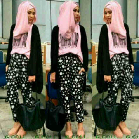 Pink Barcode Hijab set 4 in 1