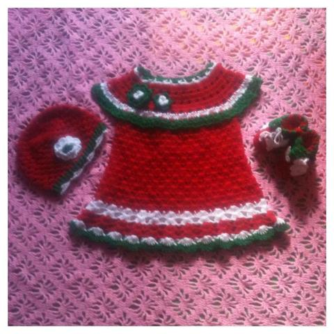 [Kado] Dress Rajut X-Mass Natal Putih (0-8m)